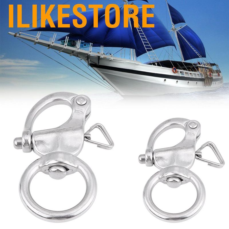 2Pcs Snap Shackle 76mm Stainless Steel Buckle Brace Ring Round Ring Shackle