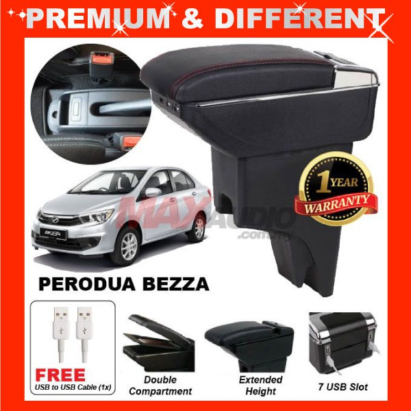 [FREE GIFT Gift] PERODUA BEZZA 2016 - 2020 COMFORT ADJUSTABLE ARMREST 7 USB PORT