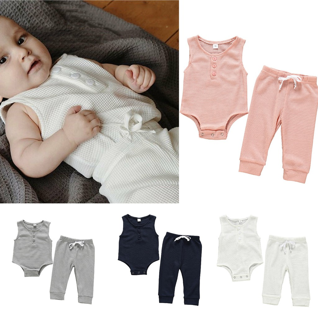 BURFLY Newborn Infant Baby Boy Girl False Two Long Sleeve T-Shirt Tops with Trousers Outfits Clothing Set