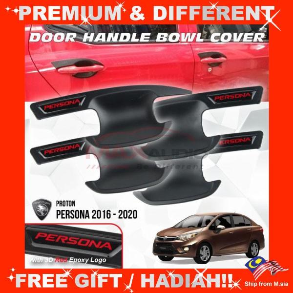 [FREE Gift] PROTON PERSONA VVT 2016 - 2020 Matt Black Door Handle Inner Bowl Protector Cover Trim (4pcs/Set)