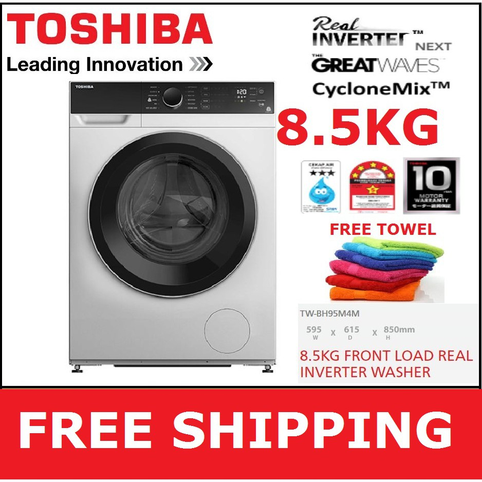 TOSHIBA 8.5KG FRONT LOAD INVERTER WASHING MACHINE WASHER (TW-BH95M4M / TWBH95M4M) (KL & SEL area only)