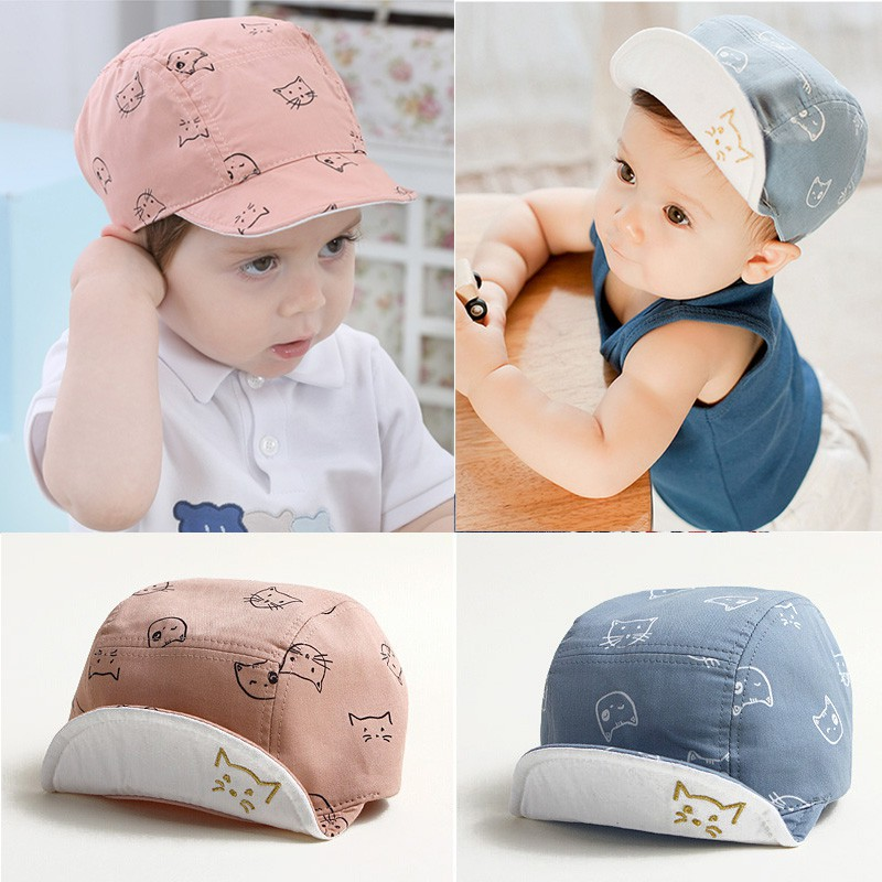 da88b7187e4 Baby Baseball Cap Cat Print Newborn Baby Accessories Cap Boys Kids Cartoon