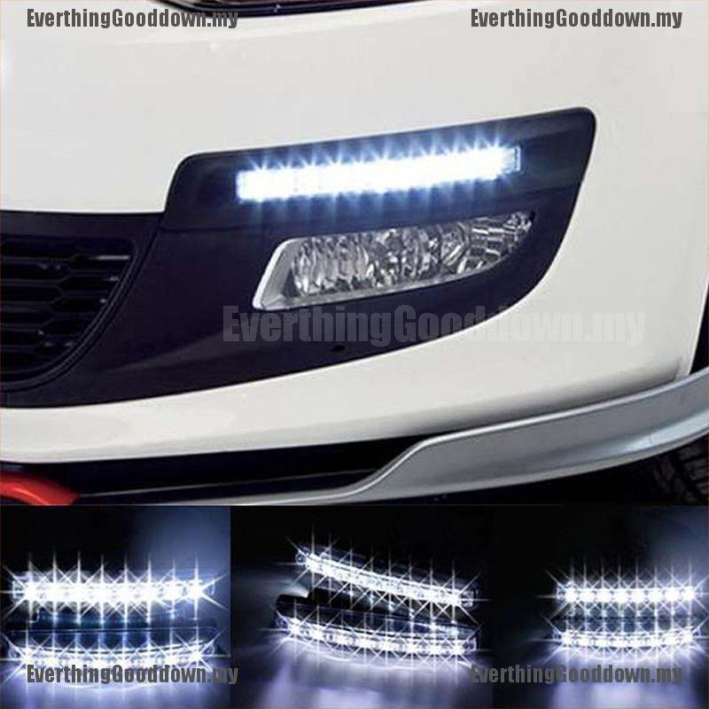 Pair 12V 6 LED White Daytime Running Light DRL Car Fog Day Driving Front Lamp