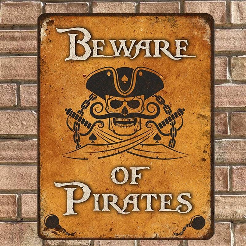Pirate poster metal tin sign vintage cafe pub motorcycle retro garage kitchen