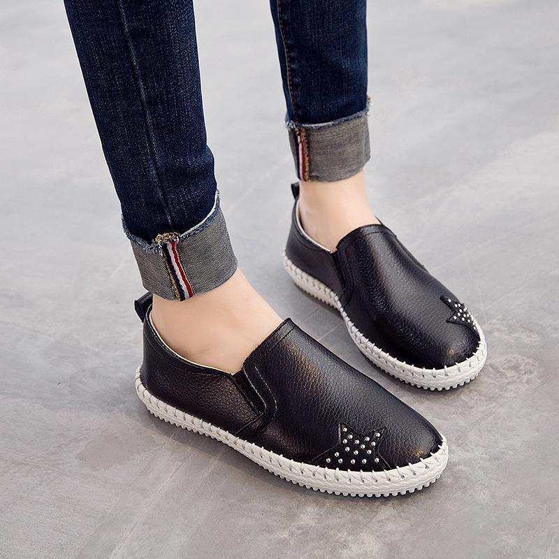 e6ca015244 Women Genuine Leather Shoes Female Fashion Breathable Shoes Lady ...
