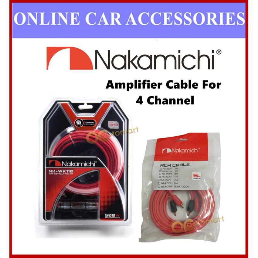 NAKAMICHI 4 Channel Cable Set NK-WK110 With NK-RCP5 5 Meter RCA 10GA Wiring Kit Amplifier Cable Set For 4 Channel Amplif