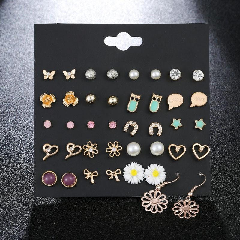 c0b452eff1e83 Korean version Daisy ear nail suit Butterfly Pearl Diamond Owl Star Loving  Earrings Hot-selling ear nail suit