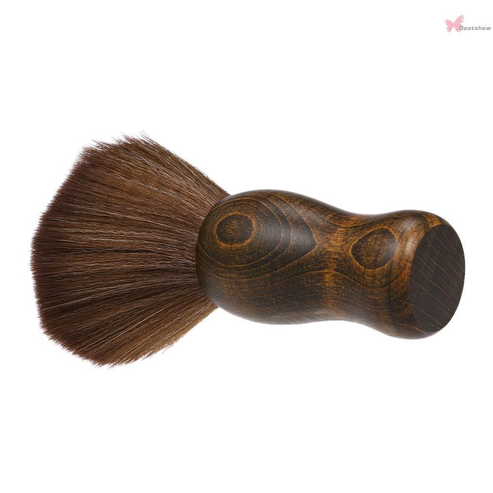 ReadyB&S Soft Barber Neck Face Duster Brush Cleaning Hairbrush Hair Sweep Brush Salon Household Hair Cleaning Brush Nylon Hair Wooden Handle