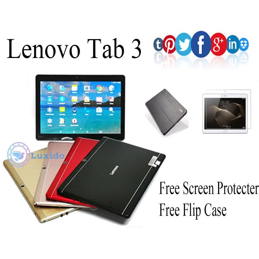 Lenovo Tab 3 Lenovo tablet Lenovo tab Android Tablet 10 1 INCH Support Dual  Sim Memory( 2GB RAM/16GB ROM )