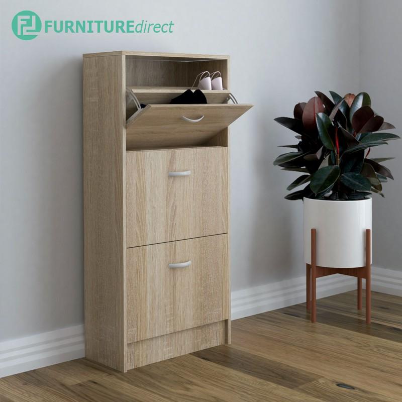 Furniture Direct PHILIP space saver 3 doors shoe cabinet rak kabinet kasut kayu bertutup