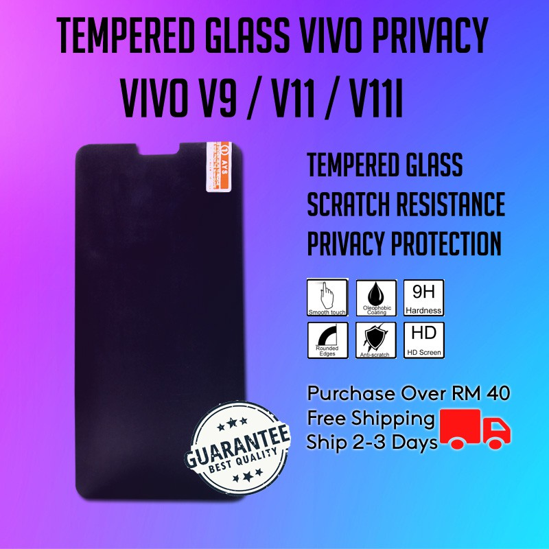 Vivo V7 Plus/V9/V11/V11i Tempered Glass Privacy