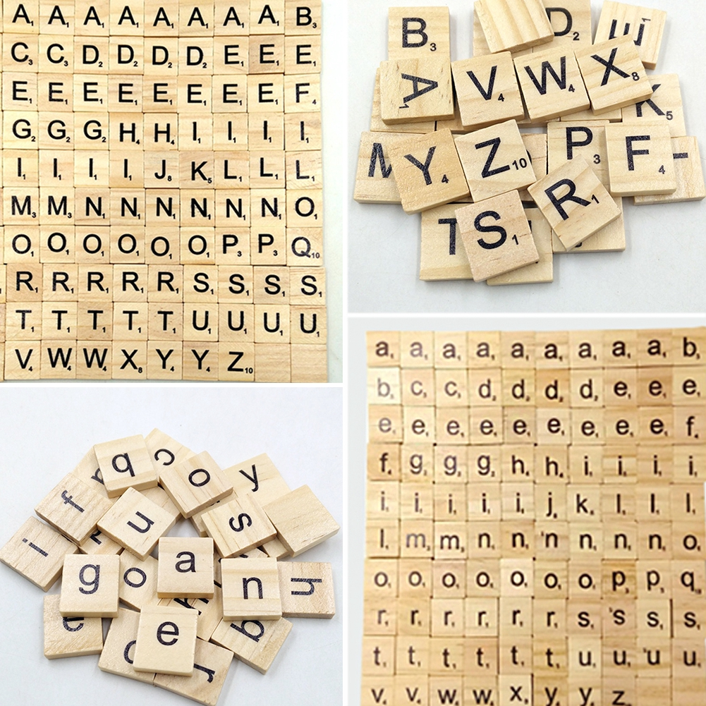 100Pcs Scrapbooking Name Tage Scrabble Word Number Letter Set Wooden  Complete Alphabet Tile Handcraft