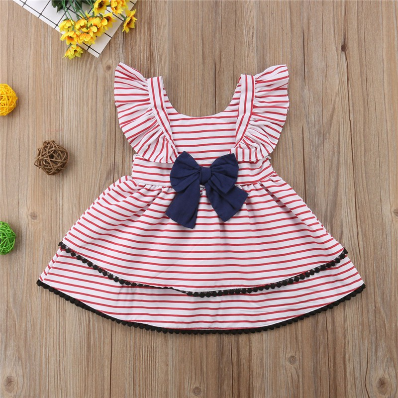a4ddb1dd30c9b 2019 Hot Sale 2-8 Years Girls Short Sleeve Blue Stripe Summer Dress Girls  Cotton Casual Dresses Baby Kids Clothing Out