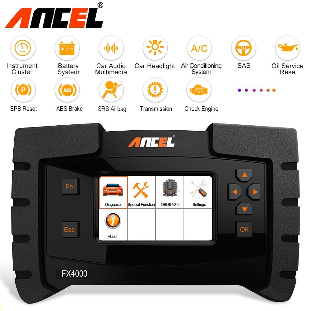 Ancel FX4000 Full System Diagnostic Tool OBD2 Scanner Engine ABS SRS Read  Clear Codes Automotive Detector 全系统检测仪器
