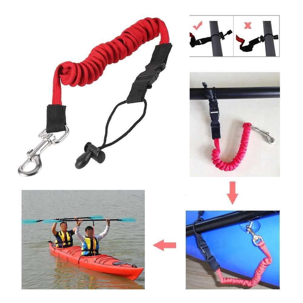Stretchable Kayak Canoe Paddle Safety Rod Leash Fishing Rod Lanyard Green