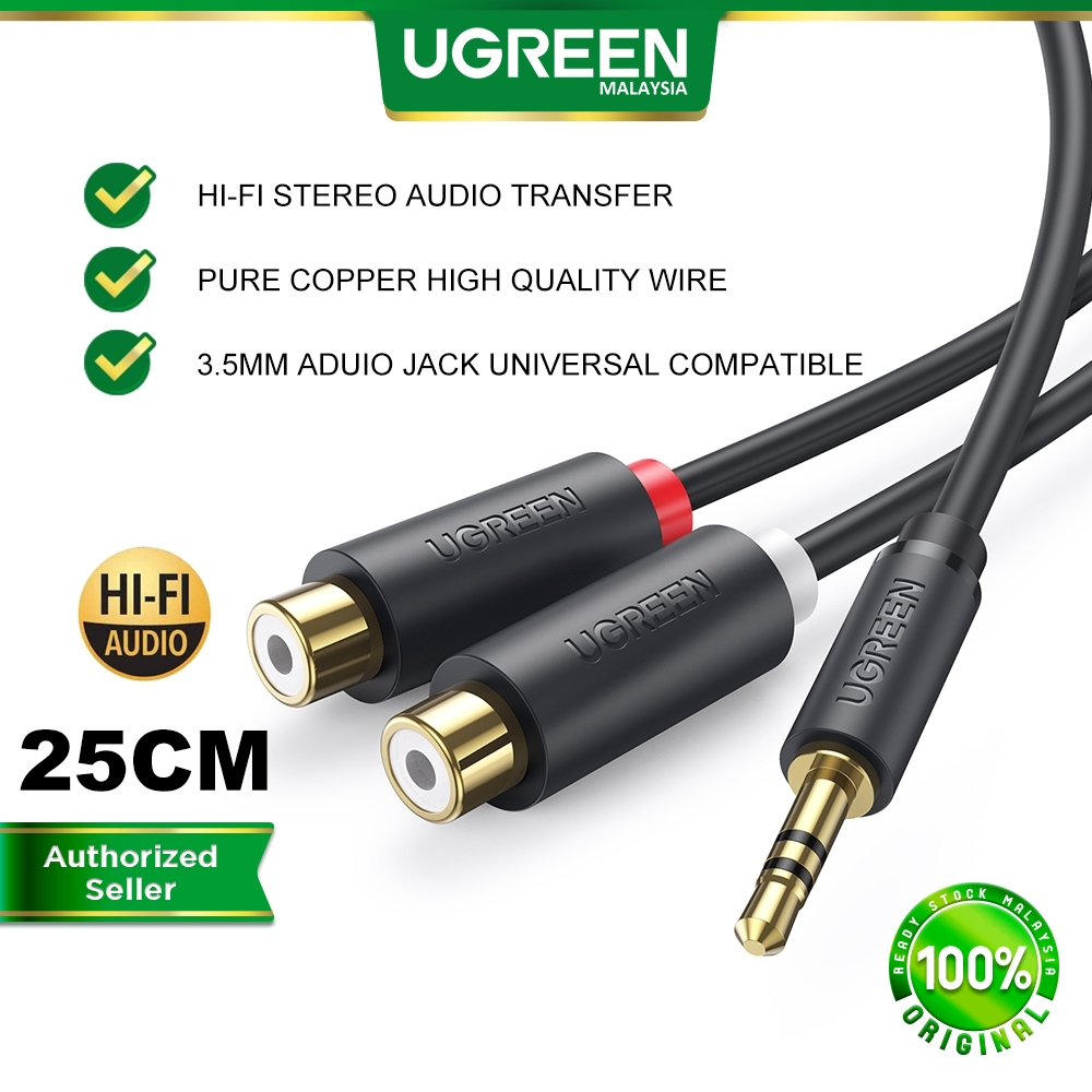 UGEEEN 3.5MM Audio Cable Male to 2 RCA Female Jack Stereo Y Adapter Converter Macbook iPad Android Smartphone Laptop