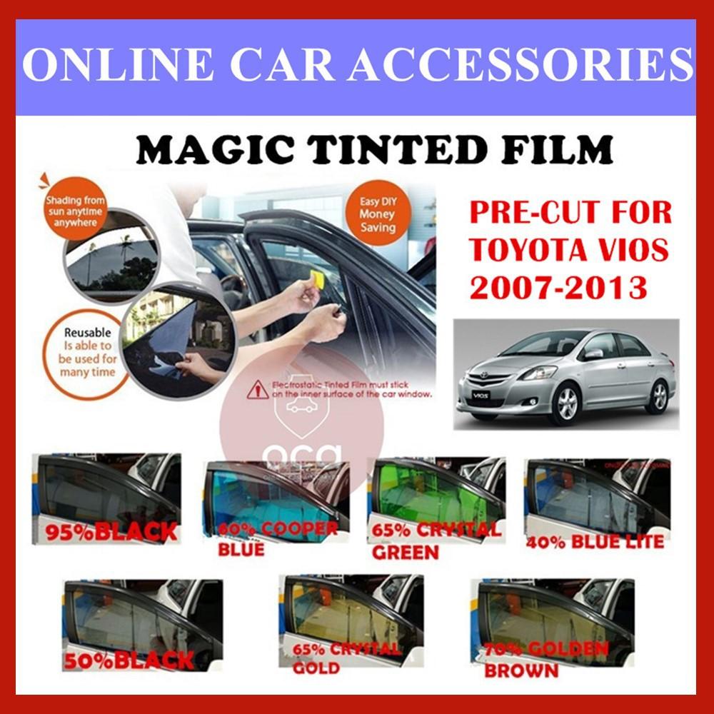 Toyota Vios 2007-2013  - Pre-Cut Shape Magic Tinted Solar Tinted (4 Windows & 2 Triangle /4 Windows+Rear)