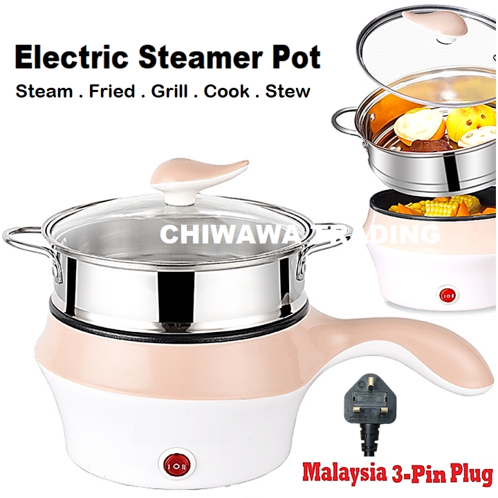 【2 IN 1】Electric Stainless Steel Rice Cooker Steamboat Skillet Pan Steamer Pot / Pengukus Periuk Elektrik