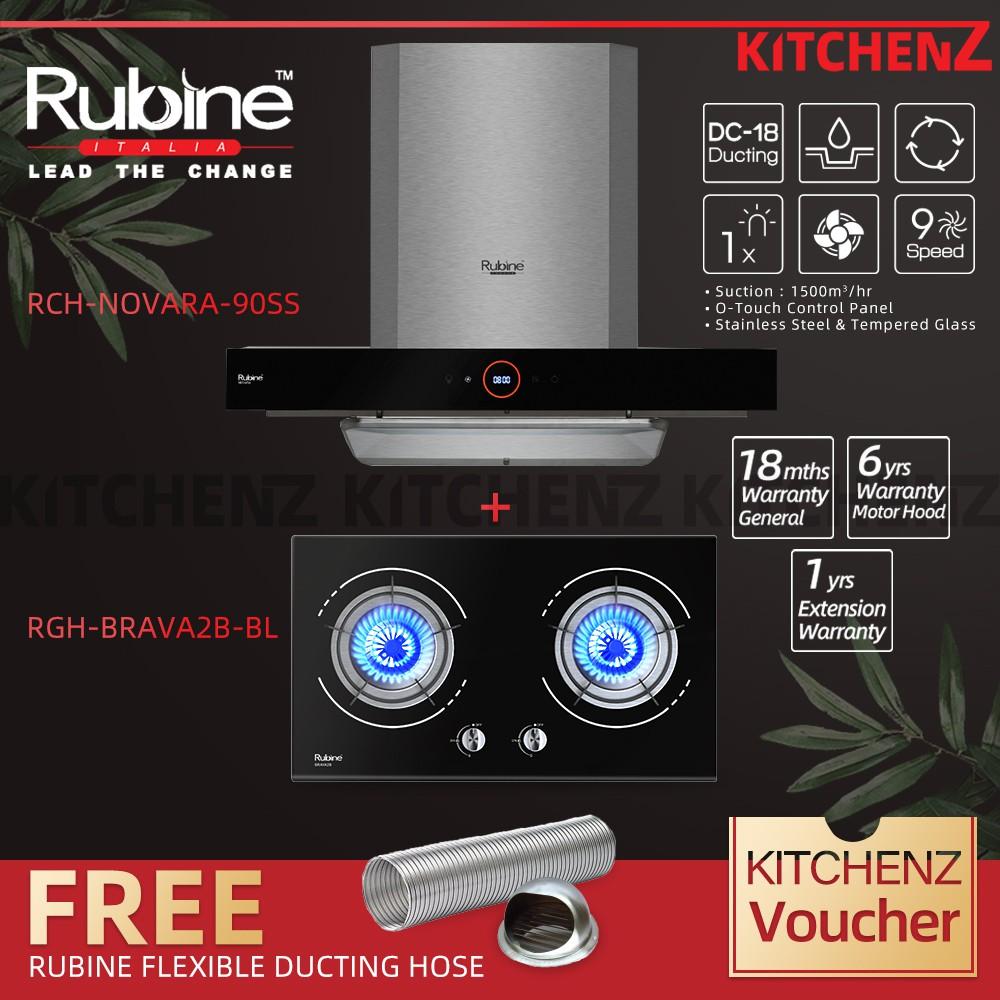 Rubine Chimney Hood Essential Series 1500 m³/hr with O-Touch Panel + Built-in Hob Free DC-17RCH-NOVARA-90SS+RGH-BRAVA2B-