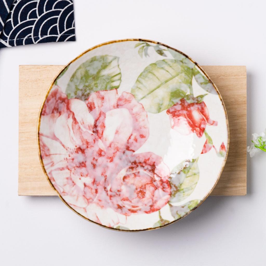 12.5cm Rose Red Japanese Style Ceramic Bowl  and Plate Porcelain Bowl Soup Bowl Mungkuk 日式手工陶瓷碗