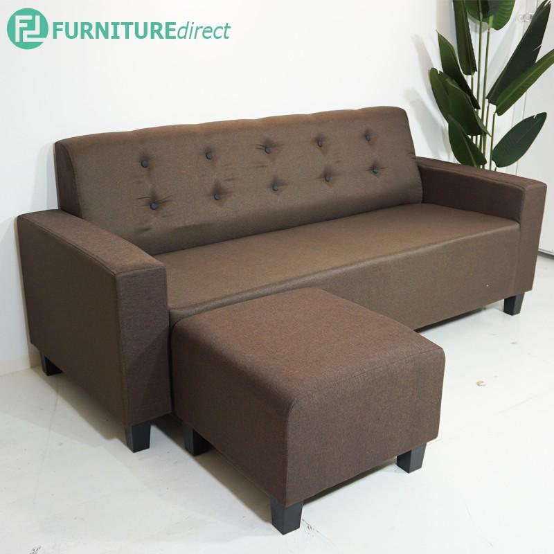 Furniture Direct ALICE 3 seater L shaped sofa with foot stool/ sofa fabric murah