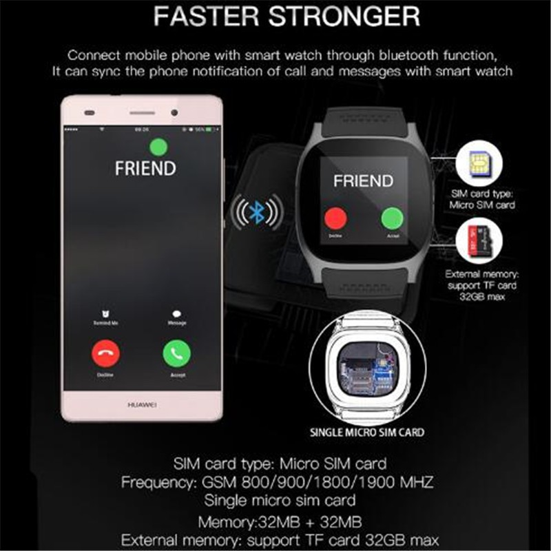 b04c553e3 T8 Bluetooth Smart Watch With Camera Facebook Sync SMS Smartwatch Support  SIM TF. 1/8