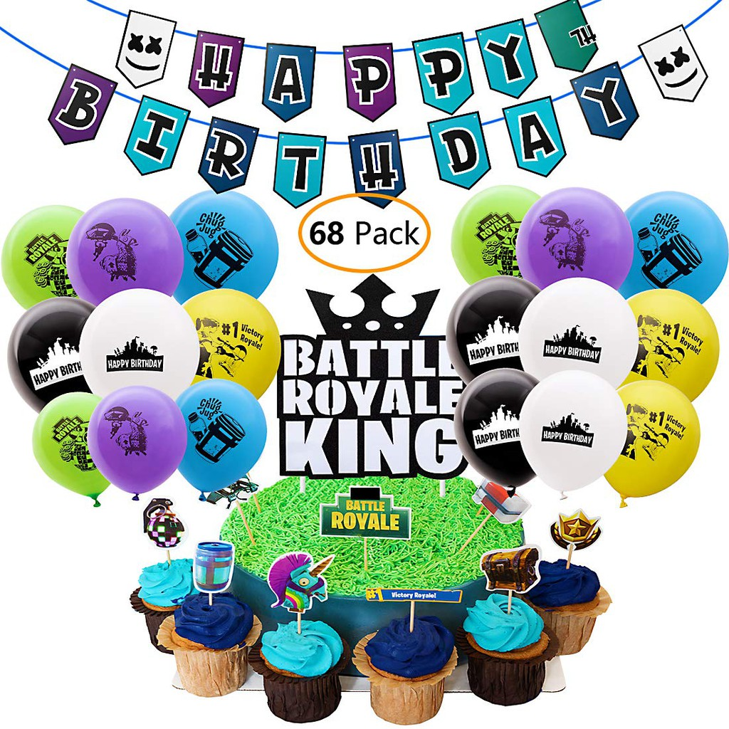 Childrens Battle Royal Gaming Birthday Party Tableware Table Supplies Kit For 8