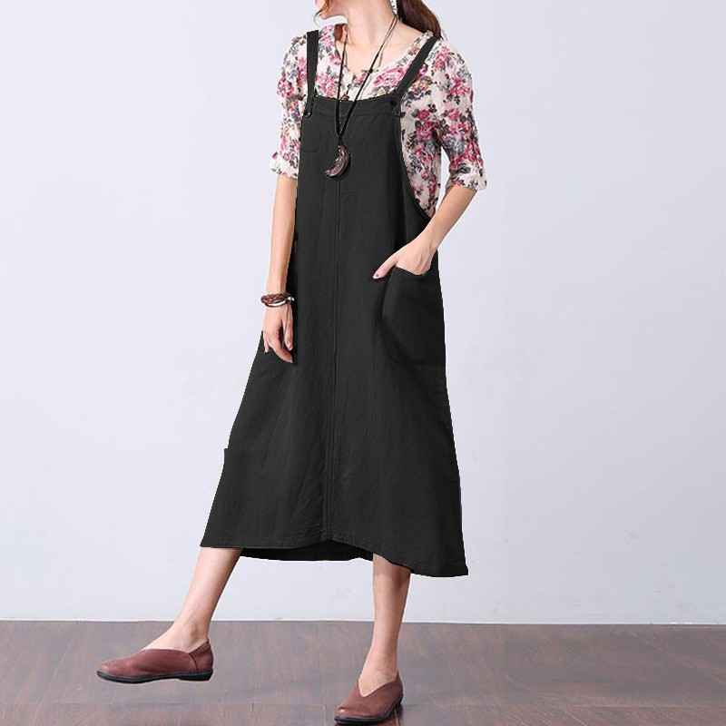 outlet for sale really comfortable distinctive design ❀HOT❀ZANZEA Women Sleeveless Strappy Long A-line Pinafore Dungaree Dress  Plus Size