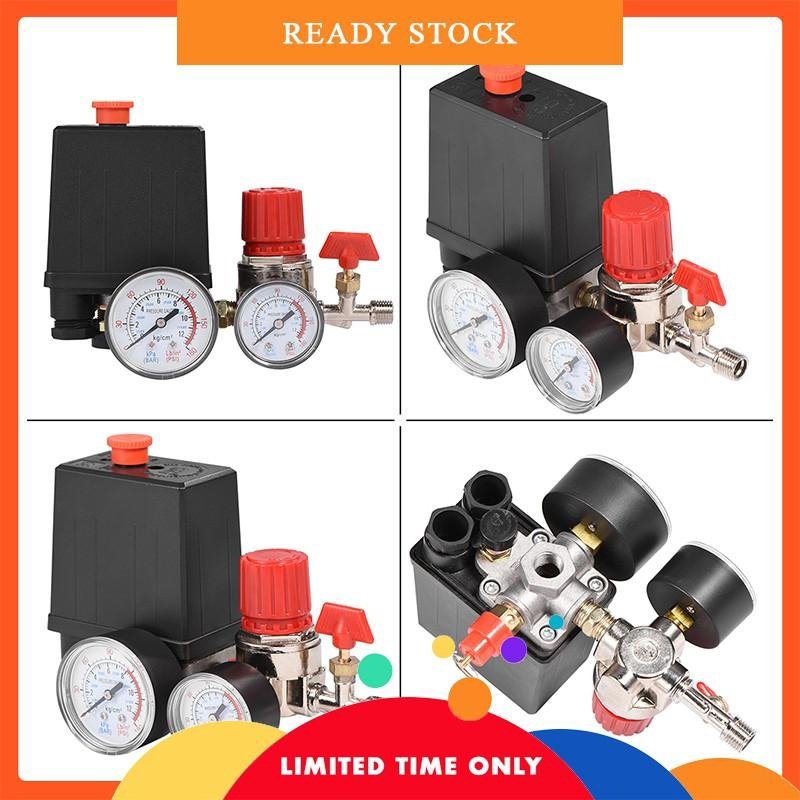 【Ready】Small Air Compressor Pressure Switch Control Valve Regulator with  Gauges