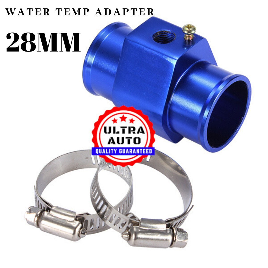Radiator hose coolant water temperature sender Gauge sensor adaptor 28 mm silver