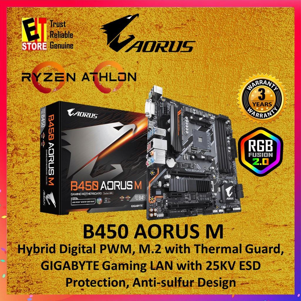 Gigabyte B450 Aorus M Gaming Motherboard Am4 Shopee Malaysia