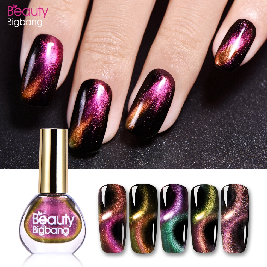 BeautyBigBang 6ml Holographic Chameleon 3D Cat Eye Nail Polish Magnetic Aurora Series Glitter