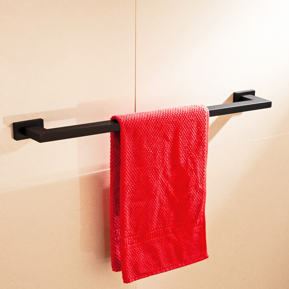 SUS 304 Stainless Steel Square Toothbrush Holder Black Wall Mounted Towel Bar