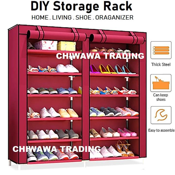 12 Layer Dust Cover Shoes Storage Rack Wardrobe Shoe Closet Cube Cabinet Organizer Shelf / Almari Rak Kasut