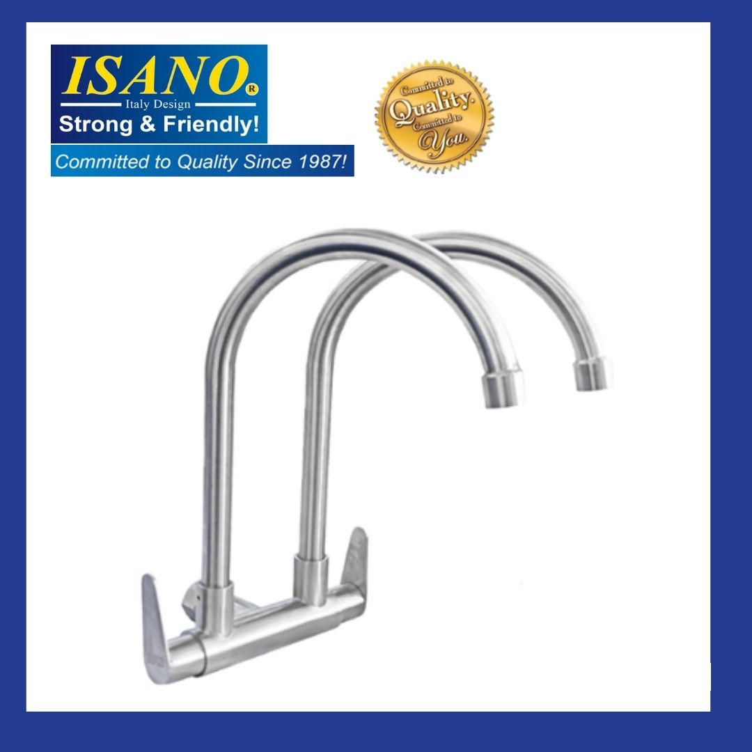 ISANO 1100TS Double Kitchen Sink Faucet Stainless Steel SUS 304 WALL TYPE