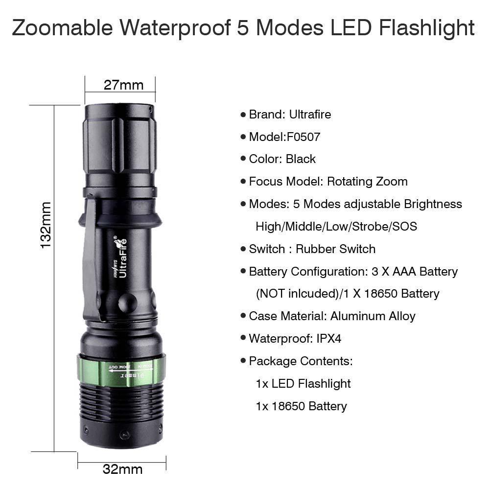 Ultrafire 6000 LM Zoomable CREE XML T6 LED Flashlight +Li