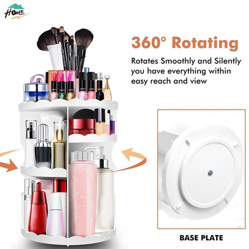 65ee73d218c2 360° Rotating Cosmetic Storage Shelves Lipstick Makeup Organizer ...