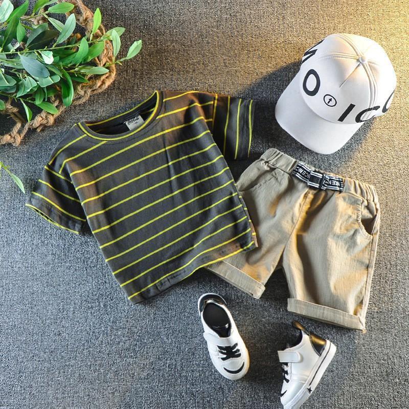 Kids Boys Short-Sleeve T-Shirt Elastic Waist Camouflage Shorts Two-Piece Set