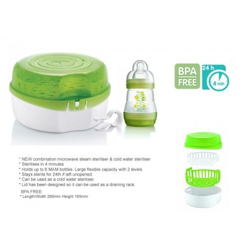 Cold Water Steriliser For Bottles MAM Baby Feeding 2 Level Microwave Steam