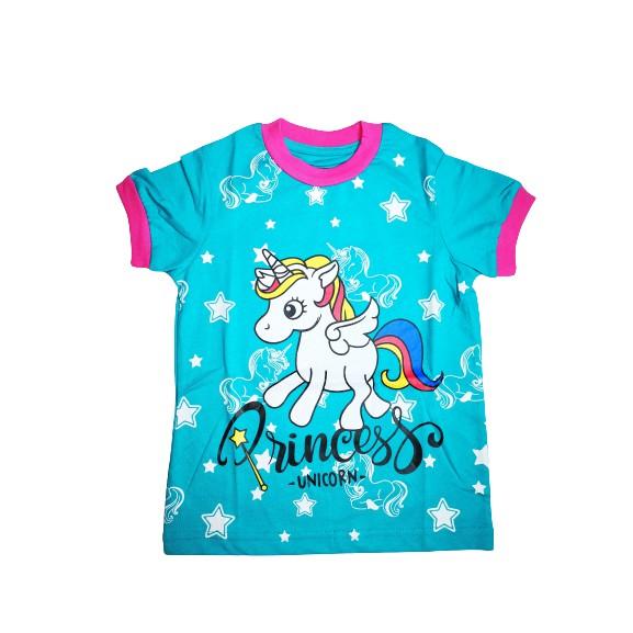 POLOUS Girl Cotton Short Sleeve Round Neck Shirt 9012-PRINCESS UNICORN