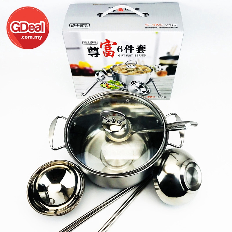 GDeal 6 In 1 Stainless Steel Wok Set With Spoon Chopstick Bowl Soup Pot With Cover Glass Lid Steamboat Peliuk سيت ڤلياوق