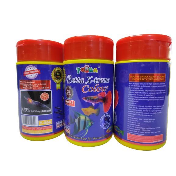 TOPKA Betta X-treme Color 120g (0.6mm size pallet) 45% high protein | Makanan Ikan Laga dan Guppy