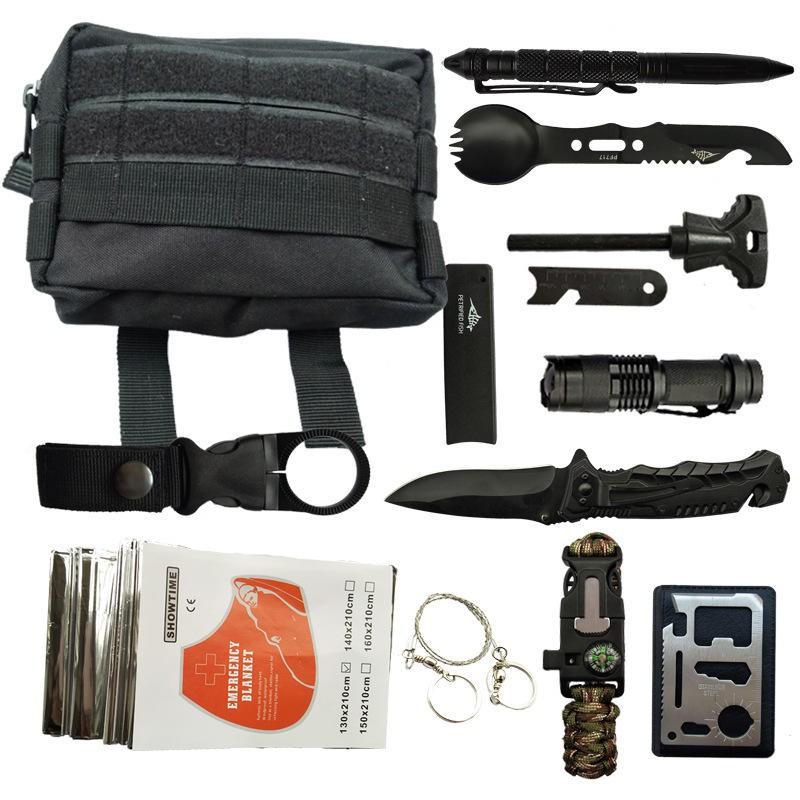 IPRee 11 In 1 Outdoor EDC SOS Survival Bag Camping Emergency Multifunctional Tools Kit