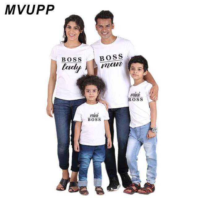 3d919e6eb5e12 family matching clothes oufits father son mother daughter mini boss T-shirt