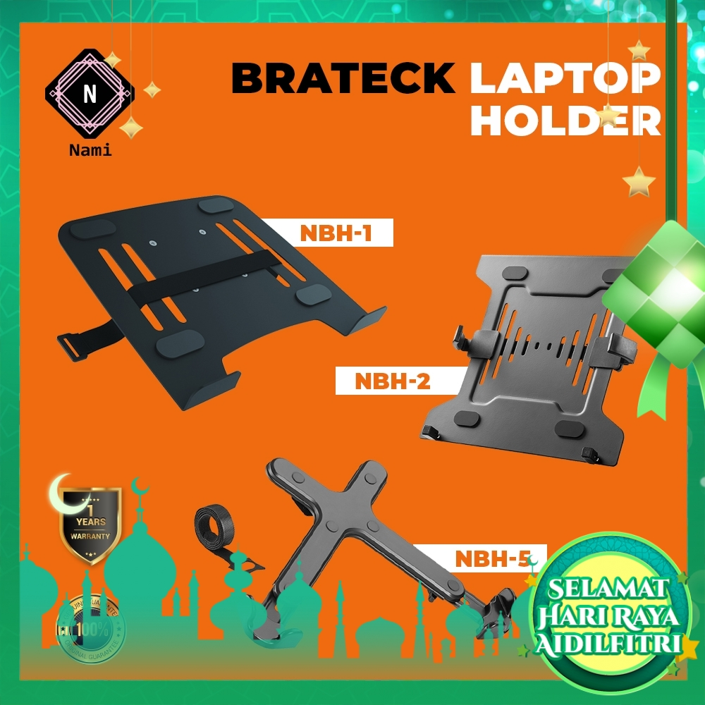 """BRATECK NBH1/NBH2/NBH5 Powder Coated Laptop Holder Kit Steel Durable Enhance Viewing 10"""" to 17"""" Laptop"""