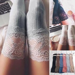 70D Ultra Shiny Glossy Lace Top Silicone Stay Up Hosiery Thigh High Stockings