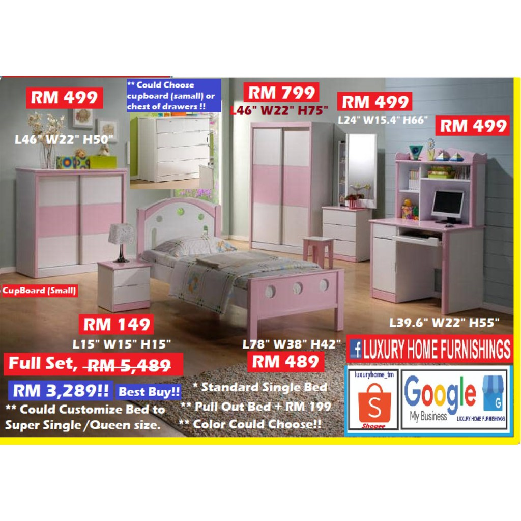 CHILDREN BED ROOM SET, 203, FULL SE. Small Cupboard could change to chest of drawers,  RM 5,489.  PROMOTION RM 3,289!!