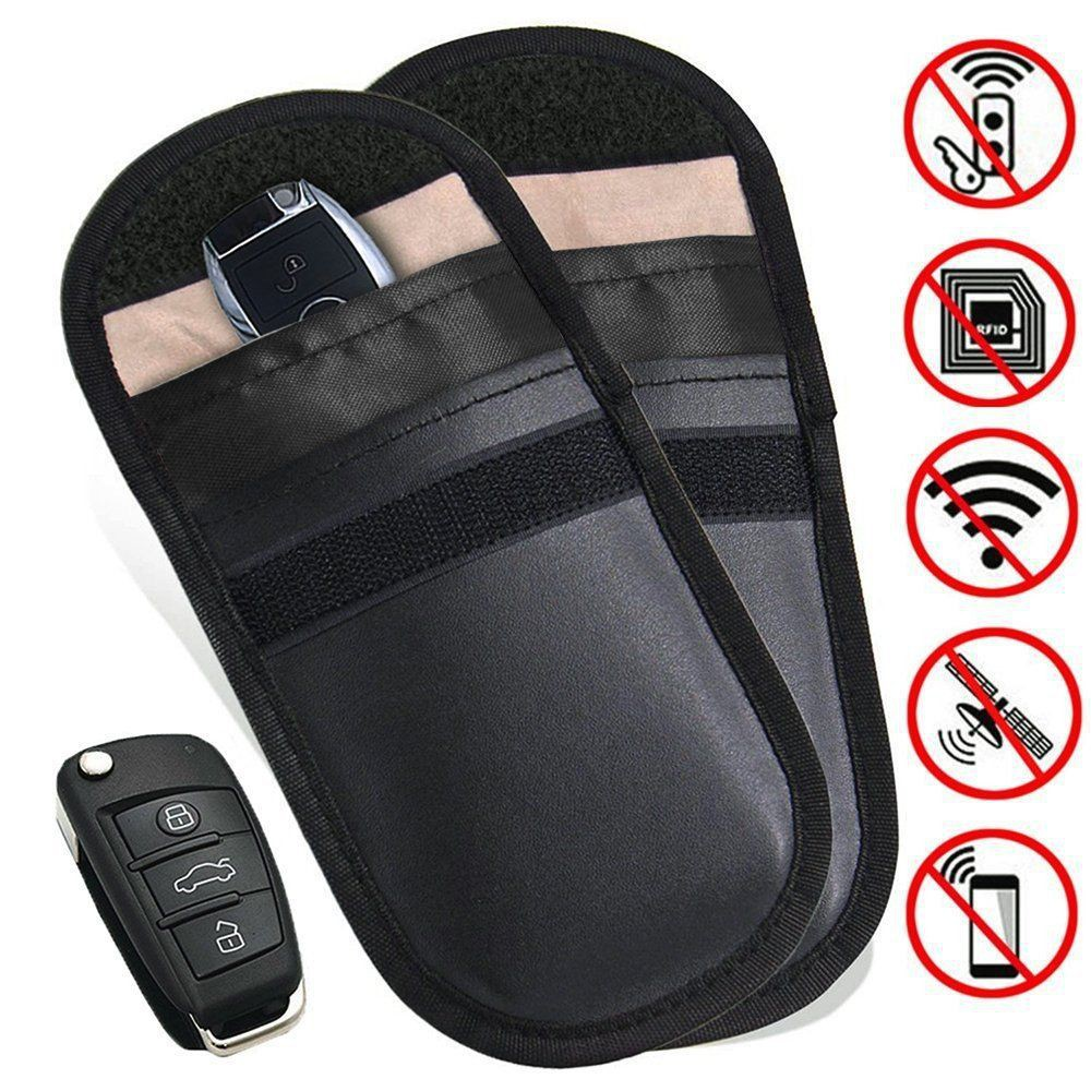 2Pcs Lock Car Key Keyless Entry Anti-Theft Fob Signal Blocker Pouch Faraday Bag