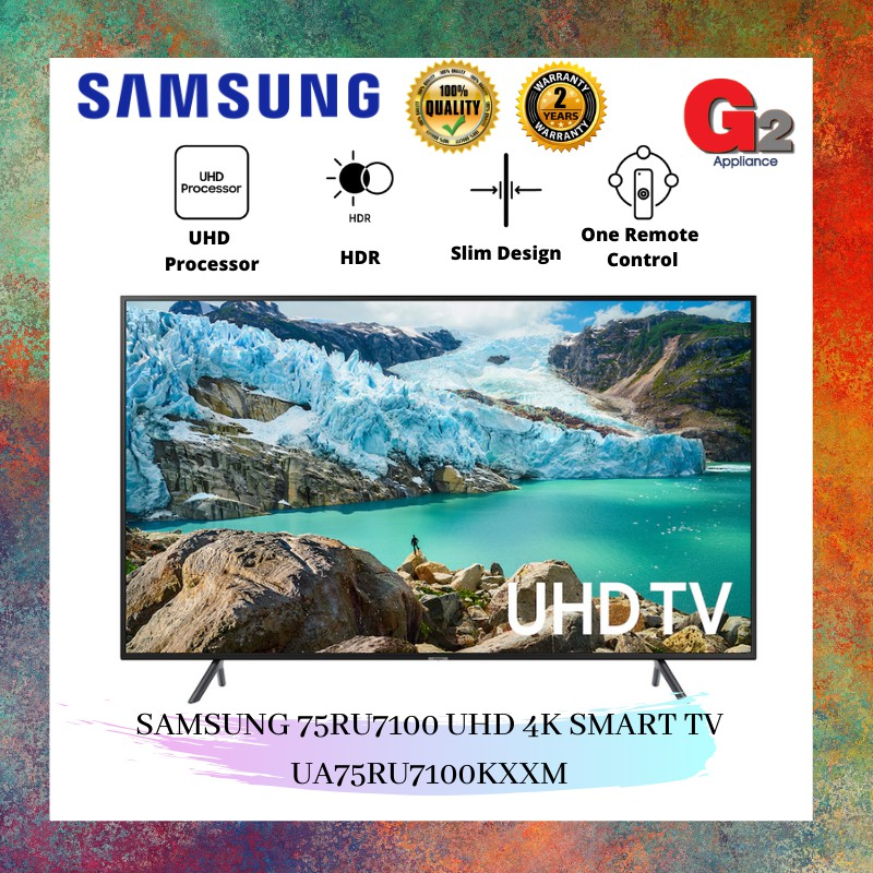 "SAMSUNG 75"" RU7100 UHD FLAT SMART 4K UHD TV UA75RU7100KXXM-SAMSUNG WARRANTY MALAYSIA"