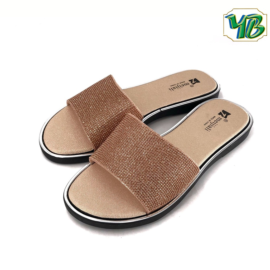 Meijiali Ladies Black/RoseGold Slides Sandals 705 by YEBENGSHOES